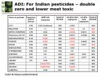 ad i for indian pesticides double zero and lower most toxic