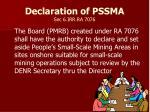 declaration of pssma sec 6 irr ra 7076