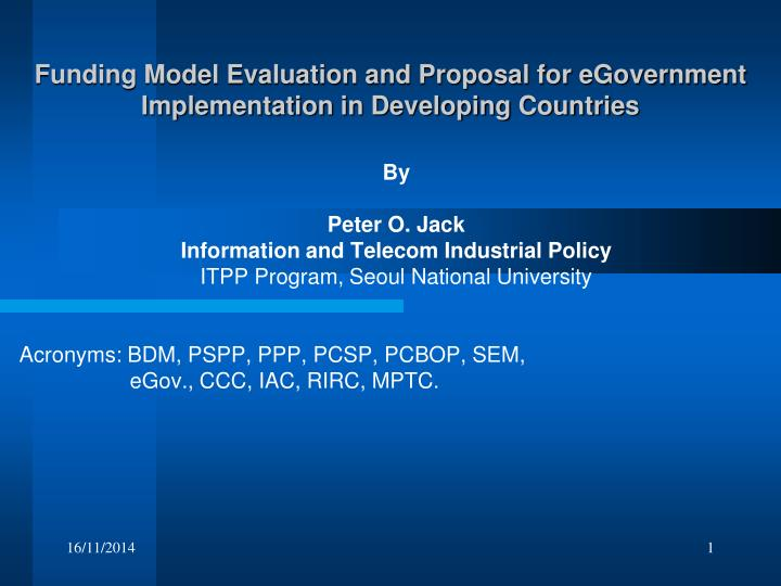 funding model evaluation and proposal for egovernment implementation in developing countries n.