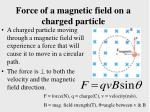 force of a magnetic field on a charged particle
