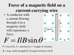 force of a magnetic field on a current carrying wire