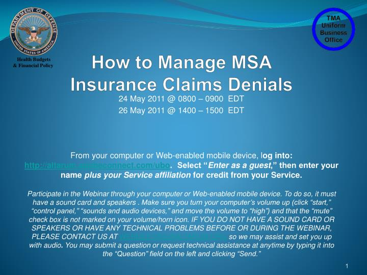 how to manage msa insurance claims denials n.
