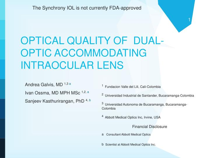 optical quality of dual optic accommodating intraocular lens n.