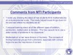 comments from mti participants