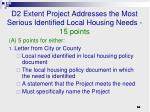d2 extent project addresses the most serious identified local housing needs 15 points