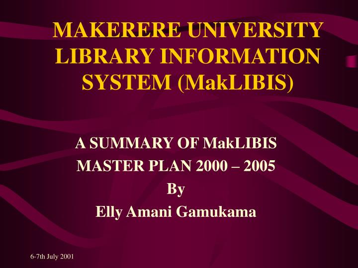 makerere university library information system maklibis n.