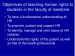 objectives of teaching human rights to students in the faculty of medicine