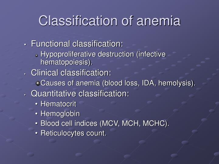 classification of anemia n.