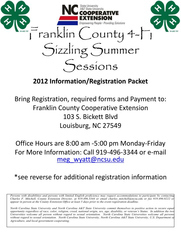 Franklin county 4 h sizzling summer sessions
