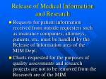 release of medical information and research