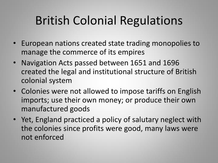 British Colonial Regulations