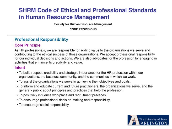 SHRM Code of Ethical and Professional Standards in Human Resource Management