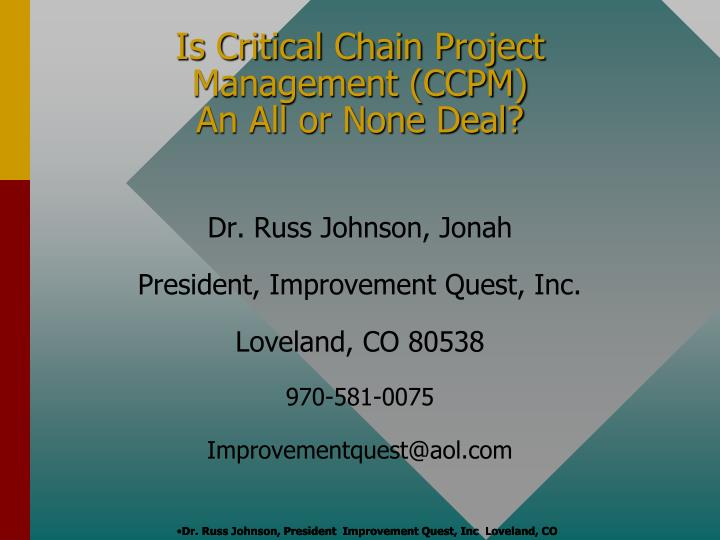 is critical chain project management ccpm an all or none deal n.