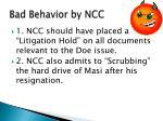 bad behavior by ncc