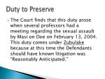 duty to preserve
