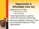 opportunity in affordable care act