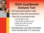 teoc cost benefit analysis tool