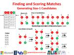 finding and scoring matches g enerating size 1 candidates