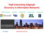 topk interesting subgraph discovery in information networks