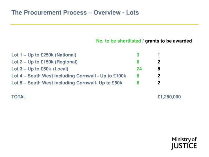 The Procurement Process – Overview - Lots