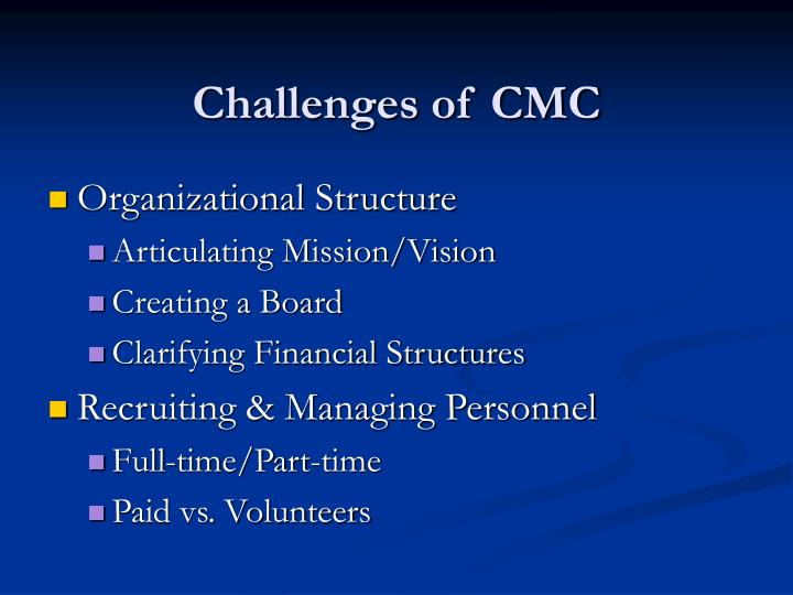 Challenges of CMC