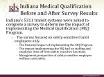 indiana medical qualification before and after survey results