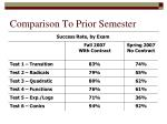 comparison to prior semester
