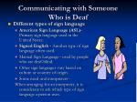 communicating with someone who is deaf