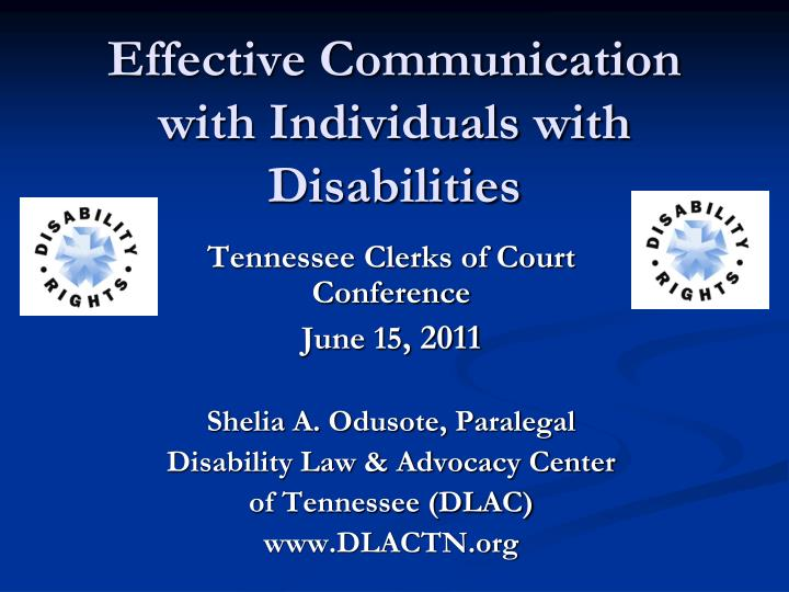 effective communication with individuals with disabilities n.