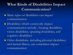 what kinds of disabilities impact communication