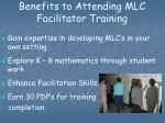 benefits to attending mlc facilitator training