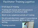 facilitator training logistics