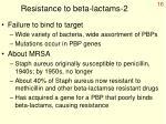resistance to beta lactams 2