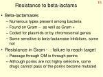 resistance to beta lactams