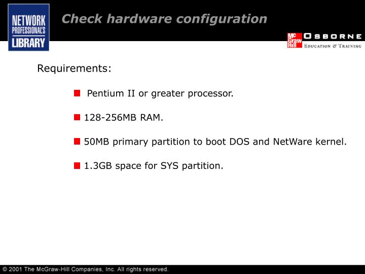 Check hardware configuration