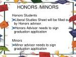 honors minors