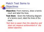 match test items to objectives1