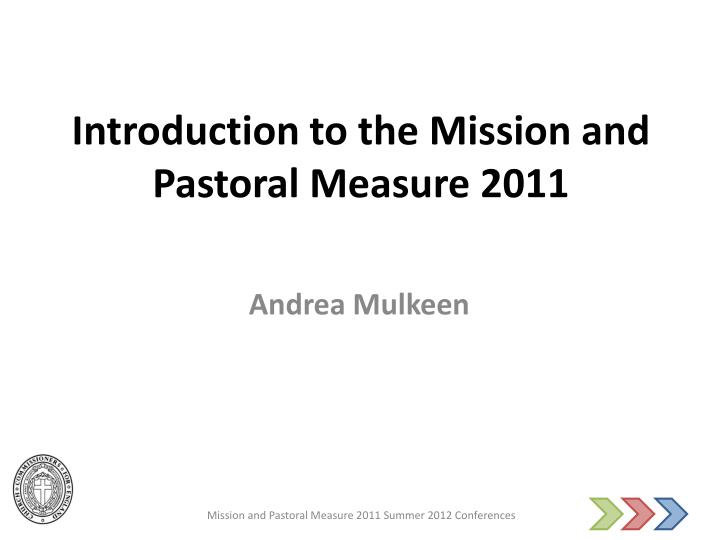 introduction to the mission and pastoral measure 2011 n.