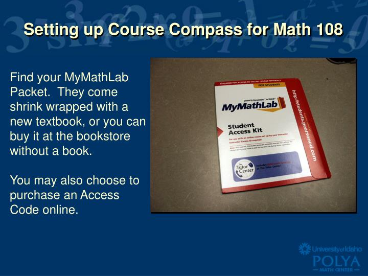 setting up course compass for math 108 n.