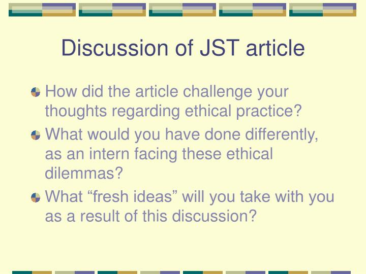 Discussion of JST article