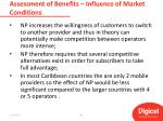 assessment of benefits influence of market conditions