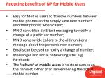 reducing benefits of np for mobile users