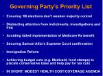 governing party s priority list