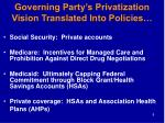 governing party s privatization vision translated into policies