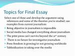 topics for final essay