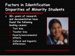 factors in identification disparities of minority students