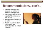 recommendations con t3