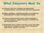 what educators must do