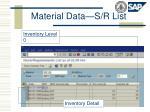 material data s r list