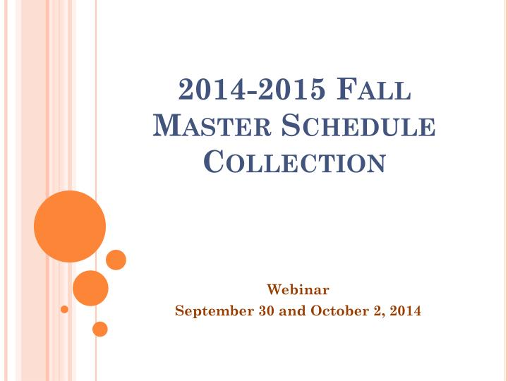 2014 2015 fall master schedule collection n.